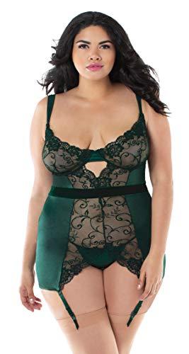 Dreamgirl Damen Plus Size Lace and Stretch Satin Garter Slip Baby Doll, Grün (Green 001), 52 (Herstellergröße: 3X)