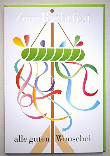 Glückwunschkarte zum Richtfest alle guten Wünsche Richtkranz