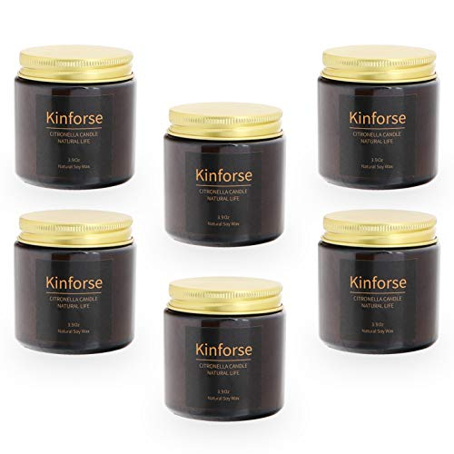 Kinforse Citronella Candles Outdoor Large Scented Jar Candles Set Aromatherapy Long Lasting Essential Oil Soy Wax for Home Garden Patio Balcony 6 Pack