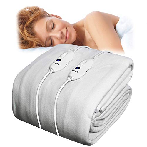 Dreamcatcher Double Electric Blanket Luxury Polyester, Double Bed 193 x 137cm Electric Heated Blanket, Soft Fitted Underblanket Fully Fitted Mattress Cover with 3 Comfort settings, 2 x Controllers and Machine Washable
