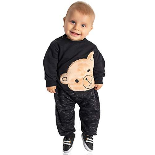 Conjunto Moletom Bebê Menino Calça e Blusa Ursinho Pelo (M)