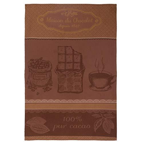 Coucke Serviette jacquard en coton français - Maison du chocolat - Marron - 50,8 x 76,2 cm