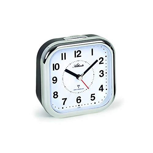 Atlanta XL grote radiografische wekker voor senioren klokkenwekker volgens analoge cijfers zilver 1829-19
