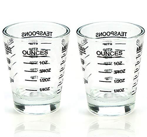 BCnmviku Messbecher Shotglas mit Skala, Mini Messbecher 30 ml Espresso Schnapsgläser Schwer Robust Spülmaschinenfest Shot Glas für Flüssigkeiten/Trockenstoffe(2 Stück-schwarz)