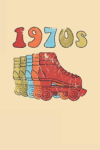 1970s Roller Skates Notebook: Cool & Funky 70s Roller Skating Notebook - Retro Vintage Repeat - Red Orange Sky Blue Sand