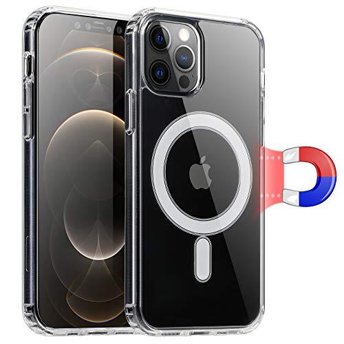 """Wonantorna Compatible pour iPhone 12 Pro Max Coque 6,7"""", Magnétique Coque pour MagSafe, [Anti-Jaune][200% Protection Contre Les Chutes] PC+TPU Hybride Housse pour iPhone 12 Pro Max –Transparent"""