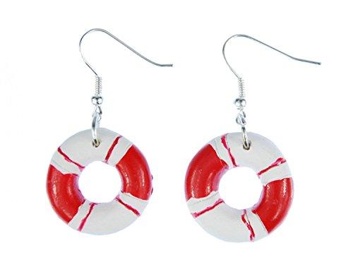Miniblings Rettungsring Ohrringe Hänger Maritim Boot Schiff Meer Ring rot weiß - Handmade Modeschmuck I Ohrhänger Ohrschmuck versilbert