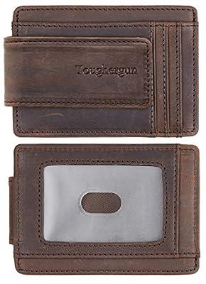 NapaWalli Genuine Leather Magnetic Front Pocket Money Clip Wallet RFID Blocking(Crazy Horse Coffee)