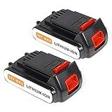 LENOGE 2-Pack 18V 2,0Ah Li-ION Batterie de Remplacement pour Black & Decker LBXR20 LBXR2020-OPE LB20...