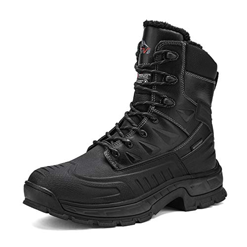 NORTIV 8 Men's Black High Top Waterprof Insulated Warm Genuine Leather Winter Snow Boots Size 11 M US Hudson-2