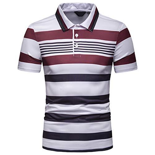 CICIYONER Poloshirts Herren Kurzarm Streifen Malerei Große Größe Casual Top Bluse Shirts Multi-Color und Multi-Size