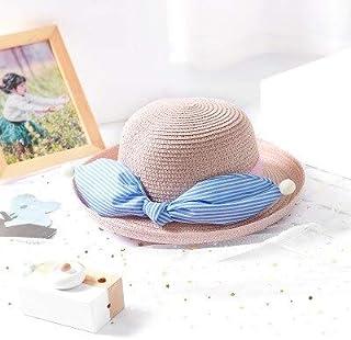 LONLLWK Sombrero para El Sol Niñas Sombreros De Paja De Verano para Bebé Sombrero De Sol con Lazo Lindo Niños Playa De Verano Gorra De ala Ancha Sombrero De Sol para Niños Sombreros De Paja