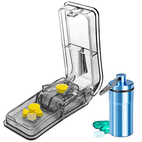 Pill Cutter for Small Pills | Design in The USA | Pill Splitter with Safety Shield | Accurately Cutting Pill Vitamin in Half | Pill Slicer for Large Pills | Comes with Keychain Pill Holder