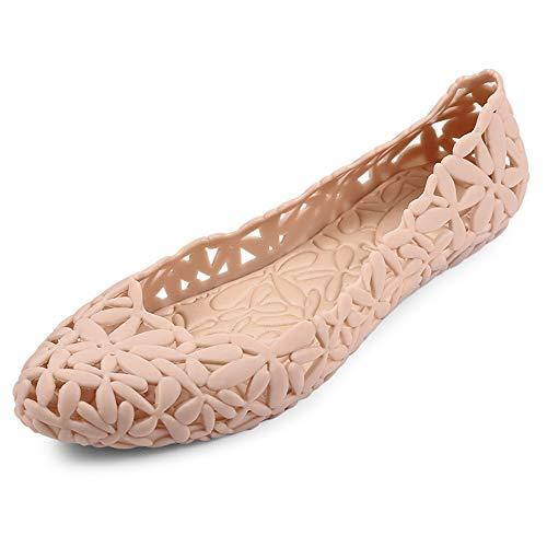 Pisos Mujer Zapatos para Mujer de Verano de Las Mujeres resbalón en los Zapatos de la Jalea de la Cubierta Talones señoras de la Flor Hembra Ocasional del Soft Calzado cómodo Beige-40