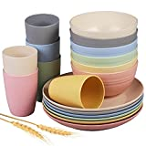 Insetfy Wheat Straw Dinnerware Sets, Plates Bowls Cups Sets of 6,...