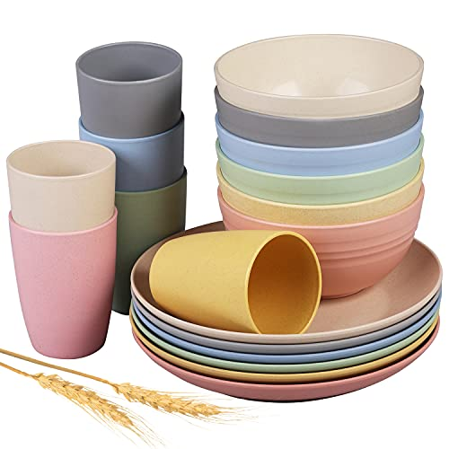Insetfy Wheat Straw Dinnerware Sets, Plates Bowls Cups Sets of 6, Unbreakable Lightweight Plastic Camping Dinnerware for Kids ,Dishwasher & Microwave Safe, 18 pcs
