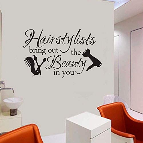 FlyWallD Hair Salon Decal Hairstylist Quotes Wall Sticker Vinyl Art Window Barbershop Decor product image