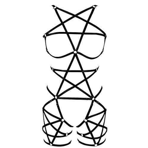PETMHS Imbracatura Completa per Il Corpo Cravatta con Reggiseno Top Corto Biancheria Intima più Dimensioni Punk Abbigliamento Gotico Fetish (4MLCN0125nero)