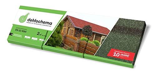 Bitumen-Rechteckschindel - grün 2 m² - Eindeckung von geneigten Dächern wie z. B. bei Gartenlauben, Pavillons, Carports, Ferienhäusern und Wohnhäusern.