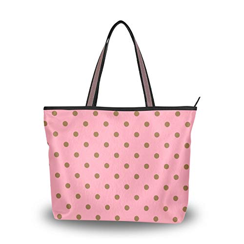 Women Handbag, Polka Dots Bright Pink Tote Top Handle Shoulder Bag for School Work Shopping (Large)