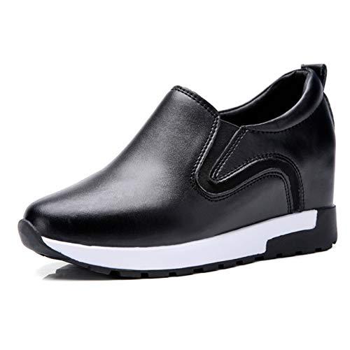 Zapatos de tacón Alto con Estilo resbalón en Las señoras Primavera otoño Grueso Punta Redonda Resistente al Desgaste Zapatos de Trabajo para Caminar por la Calle de Cuero Suave