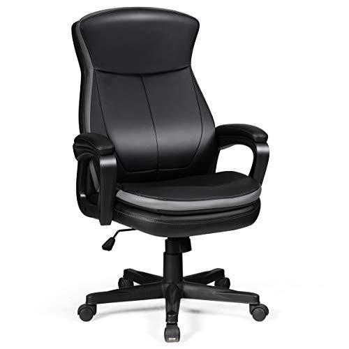 COSTWAY Bürostuhl Chefsessel belastbar bis 120kg, höhenverstellbarer Computerstuhl 360 ° drehbar, moderner Lederstuhl mit Rückenlehne und Armlehne für Heimbüro