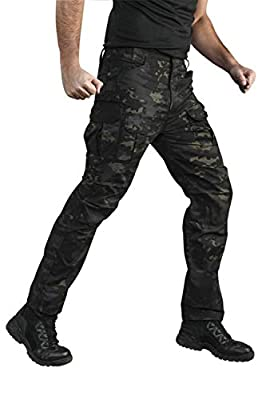 ANTARCTICA Mens Tactical Hiking Pants Durable Lightweight Waterproof Military Army Cargo Fishing Travel Dark Camo