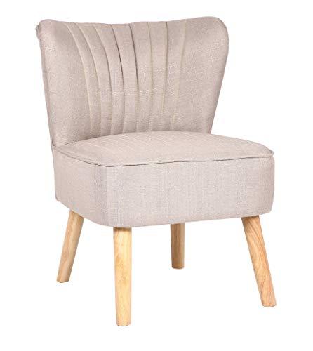 CLP Lounger Sevran Stoff I Sessel Mit Holzgestell I Polsterstuhl Mit Rückenlehne I Max. Belastbarkeit 120 kg, Farbe:Creme