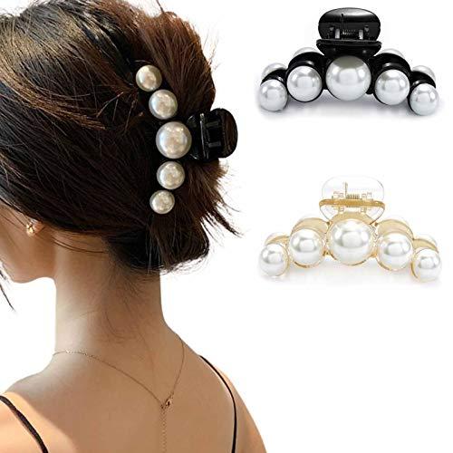 Runmi Haarklammern Schwarz Haarspangen Haarspangen Perlen Haarklammern Haarschmuck für Frauen und Mädchen (2 Stück) (A)