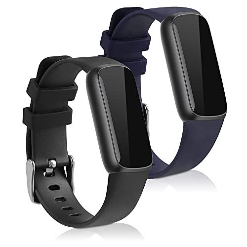 kwmobile Cinturino in Silicone e TPU Compatibile con Fitbit Luxe - 2X Fascetta Fitness Tracker Cinturino con Fibbia ca. 15,5-21 cm