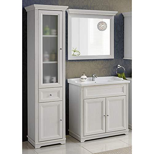 Lomadox Landhaus Badmöbel Set ● Andersen Pine weiß im Landhausstil ● 80 cm Waschtischunterschrank inkl. Keramik Waschbecken ● Hochschrank mit 2 Türen und Schubkasten und Spiegel