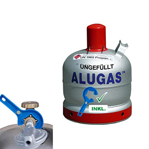 Alugas Gasflasche Alu 6 kg Propangas Camping Flasche leer inkl. Gasregler-Schlüssel mit Magnet