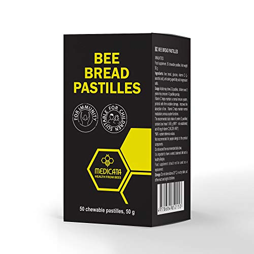 Kautabletten aus roher Bienenbrot - Premium qualität, fermentiert aus Blütenpollen - Natürliche Nahrungsergänzungsmittel von Bienen als Immunitätsverstärker - Für Kinder geeignet - 50 Tabletten