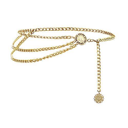Jurxy Cadena de Cintura de aleación Multicapa Body Chain para Mujer Cintura Cinturón Colgante Cadena del Vientre Arnés de Cuerpo Ajustable para Vestidos de Jeans - Oro 0408
