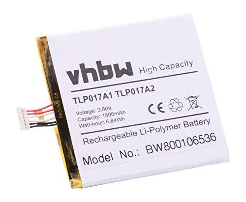Batería vhbw 1700mAh para Smartphone Alcatel Alpha Mini Dual OT-6032X OT-6012A OT-6012D S530T sustituye TLP017A1TLP017A2