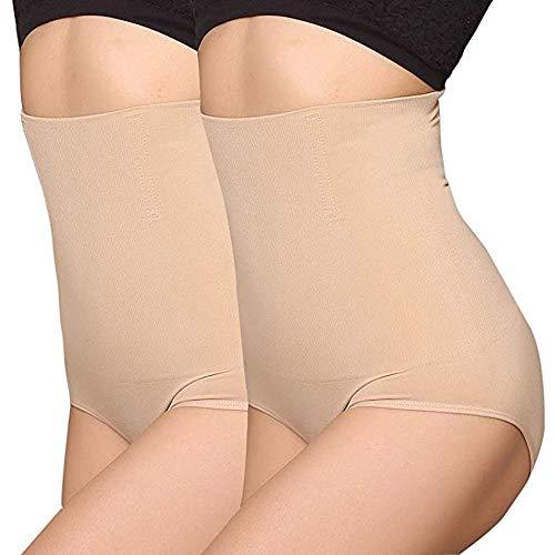 Angool - Faja-braga para mujer, entallada, marca la figura, con efecto de vientre plano 2 unidades beige. M