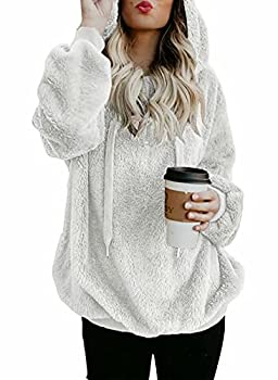 Dokotoo Womens Fashion Winter Cozy Warm Fuzzy Casual Loose Sweater Sweatshirt Hooded Fleece Pullover Sweater with Pockets White Medium