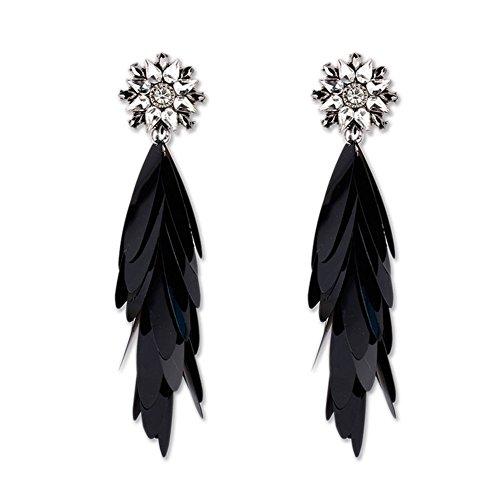 Meigold Pendientes pompón Brilliant Cristal Pendientes Mujer Pendientes Colgante de Hojas de oído percées Joyas Regalo