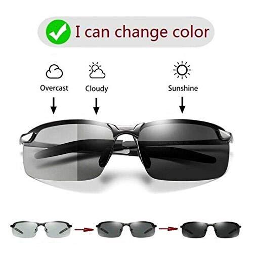 Photochrome Herren-Sonnenbrille mit polarisierter Linse, ultraleichte Metallrahmenbrille für UV-Schutz im Freien, Blendschutz, Reduzierung der Augenermüdung