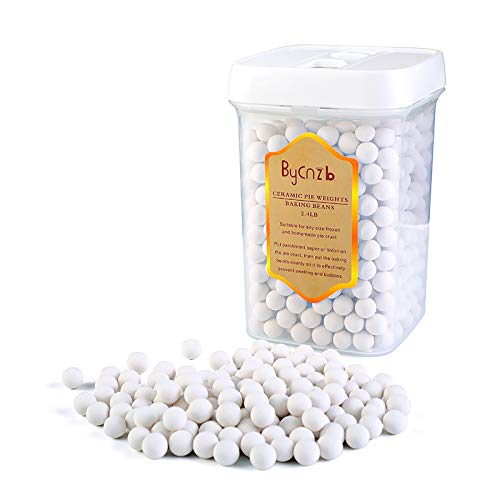 Bycnzb Ceramic Pie Weights 10mm Baking Beans Pie Crust Weights with Sealed Jar(2.4LB)