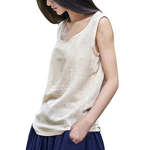 TOPKEAL 2019 - Blusa de botón sin Mangas para Mujer, Elegante, para Verano, Primavera Beige L