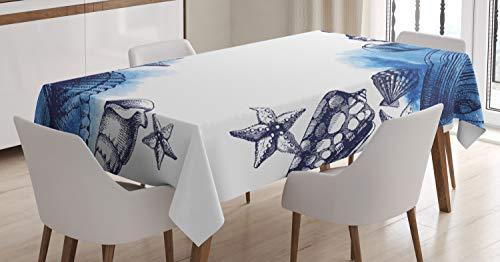 ABAKUHAUS Oceano Mantele, Mar Sealife Arena Conchas, Resistente al Agua Lavable Colores No Destiñen Personalizado, 140 x 200 cm, Azul Marino y Blanco