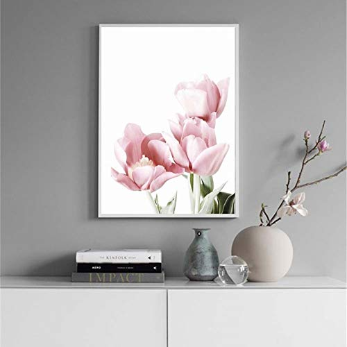 zgwxp77 Blume Leinwandmalerei rosa Pfingstrosenplakat und Druckwandbild der Wohnzimmerdekoration rahmenlos50x70cm ohne Rahmen