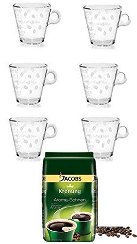 Jacobs Krönung Aroma-Bohnen, ganze Bohnen, Kaffeebohnen, 1er Pack, 1 x 500g + 6 Latte Gläser cc 260 stapelbar von James Premium®