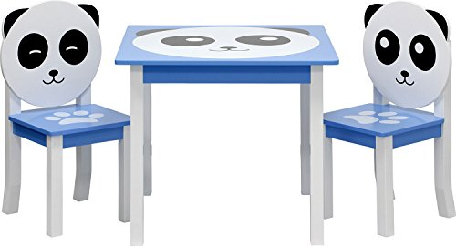IB-Style - Kindersitzgruppe Panda | 3 Kombinationen | Stuhl Truhenbank Kindermöbel Tisch Kindertisch Kinderstuhl - Set: 1x Tisch + 2X Stühle