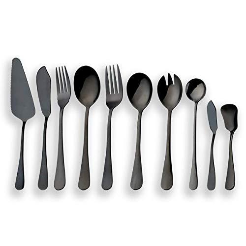 Berglander Juego de cubiertos de servir negro de acero inoxidable, juego de cubiertos, servidor de pastel, cuchillo de...