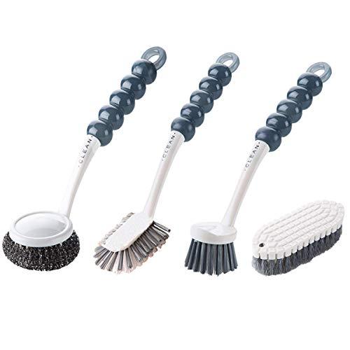 Spazzola per piatti, Spazzola per pentole a sfera in acciaio, Spazzola per la pulizia delle fessure per cucina con raschietto, Spazzola per doccia pieghevole - Spazzole per manico lungo 4 PZ (Grey)