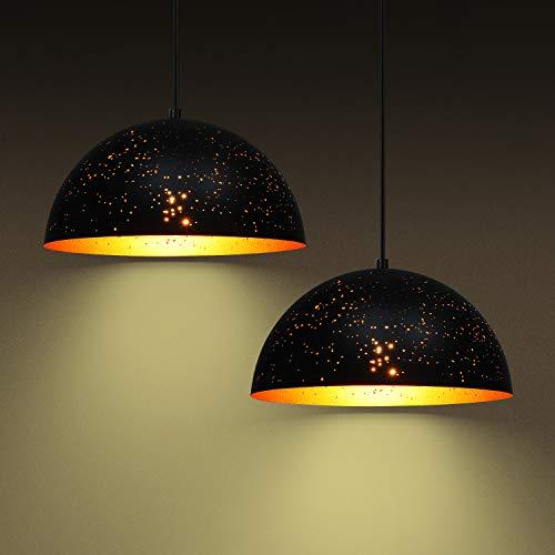 Deckey 2x Lochmuster Pendelleuchte Hängelampe schwarz-gold Leuchten Φ 30cm E27