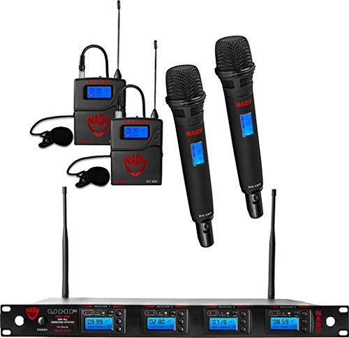 Nady 4W-1KU HT-LT Quad True Diversity 1000-Channel Professional UHF Wireless System with 2 Handheld Microphones & 2 Lapel Microphones – Autoscan – Automatic Transmitter Pairing – All Metal