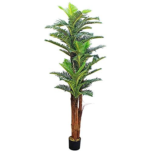 Decovego Künstliche Palme groß Kunstpalme Kunstpflanze Palme künstlich wie echt Plastikpflanze Kokospalme 180 cm Balkon Königspalme Deko hoch
